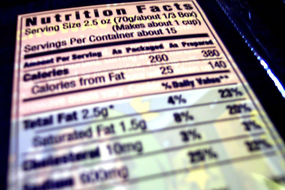 nutrition facs label